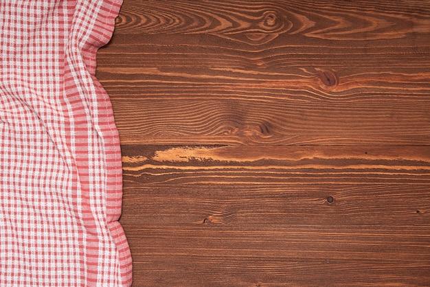 텍스트, 아이디어에 대 한 공간을 가진 나무 테이블에 체크 무늬 식탁보 또는 천으로 냅킨. 평면도