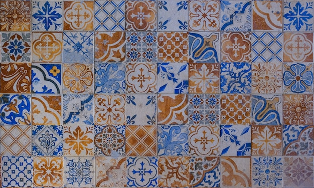 Checkered traditional thailand ceramic mosaic tile background pattern