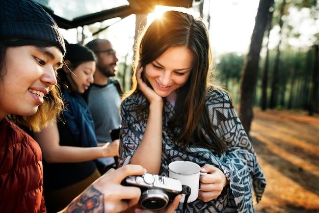 Checking outdoors camping photos concept