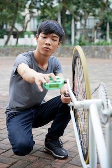 Checking and repairing bike