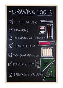 Контрольный список инструментов для рисования на фоне доски