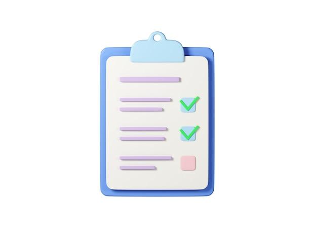 흰색 배경에 고립 된 클립 보드 종이에 체크리스트 3d 렌더링 그림