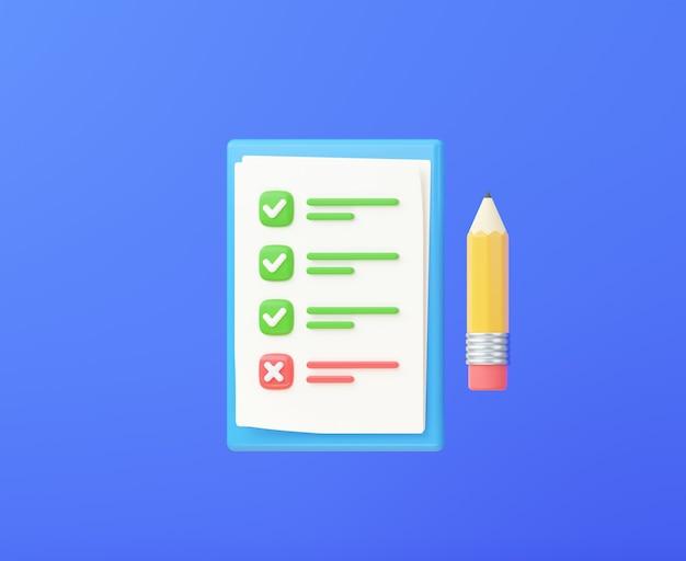 연필로 체크리스트 또는 시험 목록