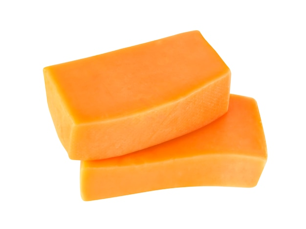 Cheddar cheese isolated on white