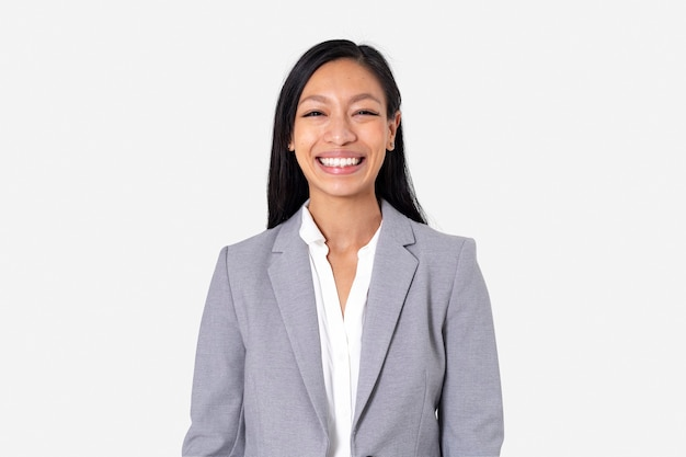 Cheerful asian businesswoman smiling closeup portrait for jobs and career campaign