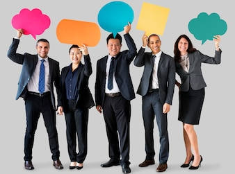 Cheerful business people holding speech bubble icon