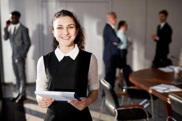 Cheerful business secretary