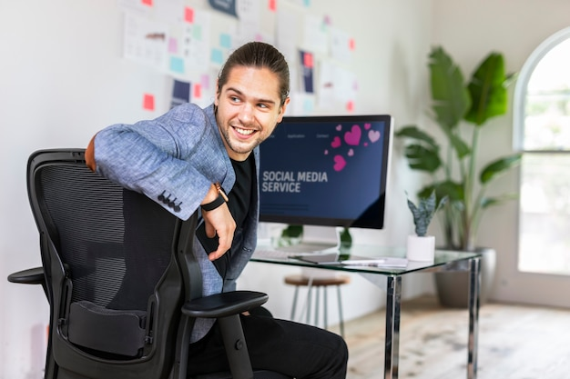 Cheerful businessman in an office