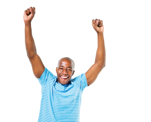 Cheerful casual african man celebrating