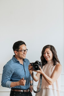 Cheerful couple in a studio