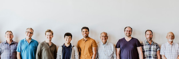 Cheerful diverse men standing in a line background