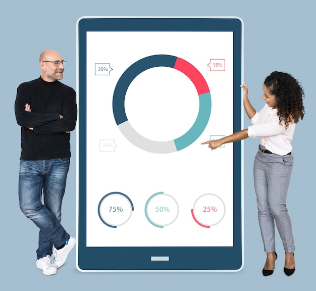 Cheerful diverse people showing pie chart on a tablet