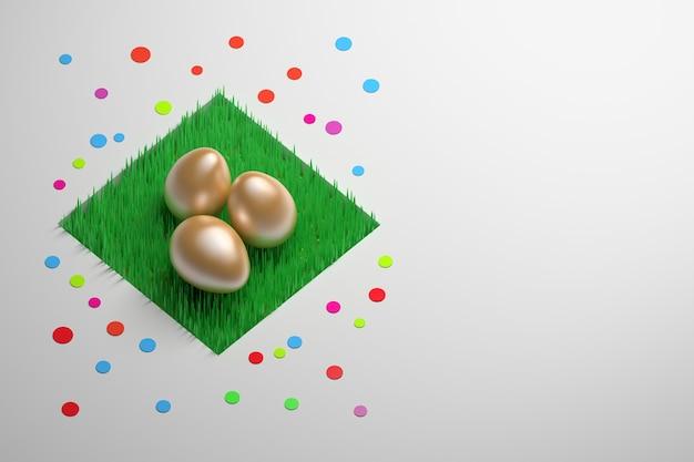 紙吹雪の装飾が施された草の上の3つの金の卵と陽気なイースターグリーティングカード