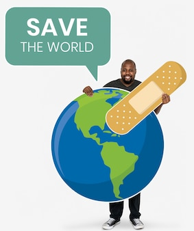 Cheerful ecologist with save the world concept symbols