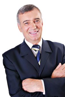 Cheerful face of successful senior adult businessman isolated on white.