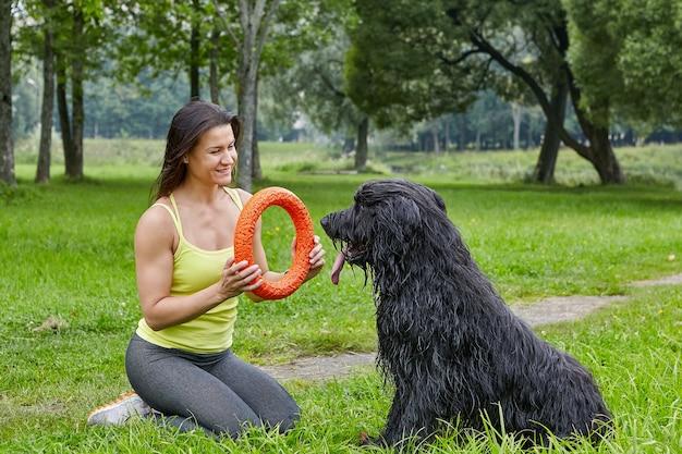 쾌활한 여성 소유자는 강아지 산책하는 동안 공공 공원에서 잔디에 장난감의 도움으로 briard와 놀고 있습니다.
