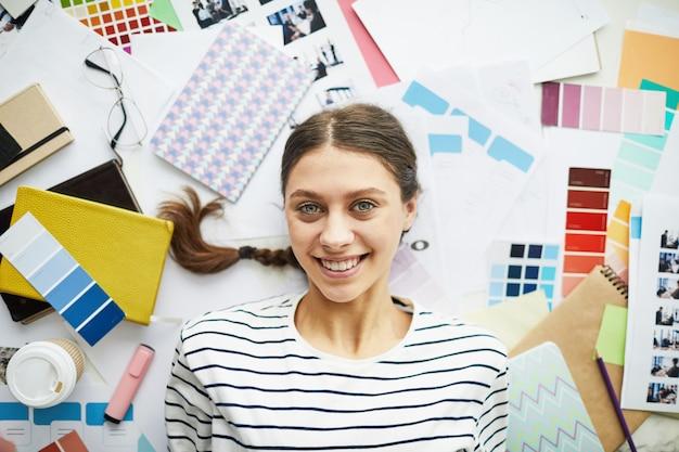 Cheerful freelancer woman