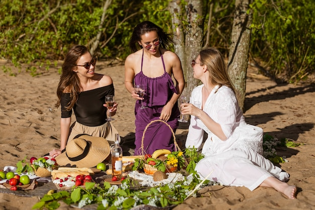 Cheerful girlfriends are having fun in summer at picnic cheerful company beautiful girls young cauca...