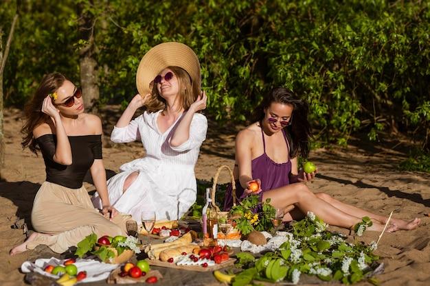 陽気なガールフレンドは、美しい女の子の若いコーカサスのピクニック陽気な会社で夏に楽しんでいます...