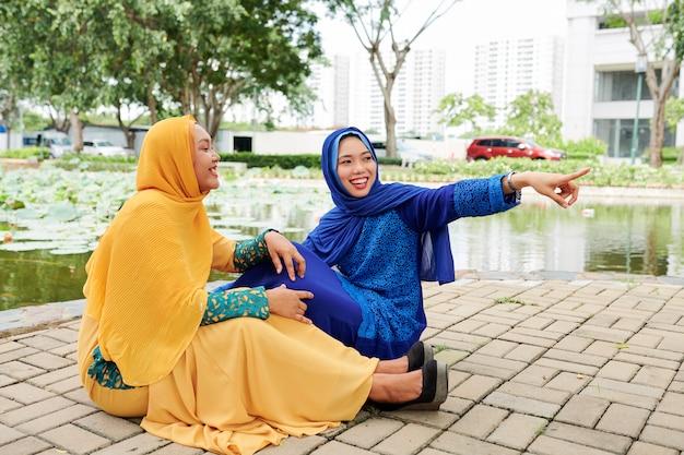 Cheerful islamic girls