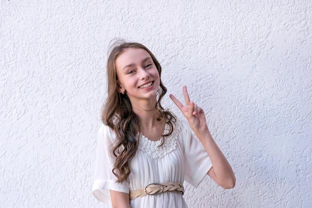 Cheerful lady in pretty dress