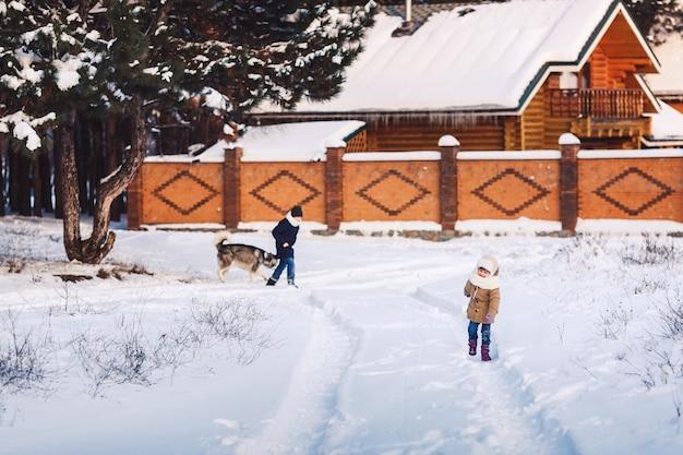 Веселая маленькая девочка и мальчик гуляют со своей собакой в парке зимой