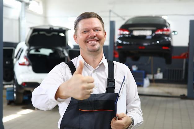 Cheerful man ensure in good job portrait