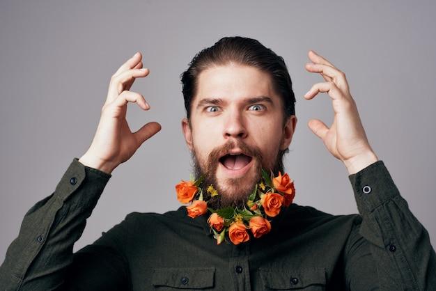ひげの休日のロマンスギフトの装飾で陽気な男の花。高品質の写真
