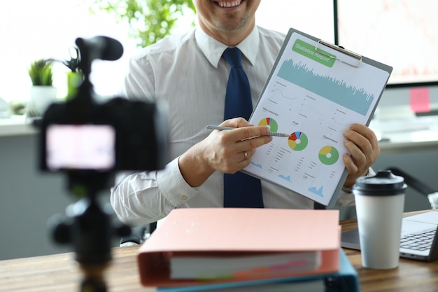 Cheerful man in office
