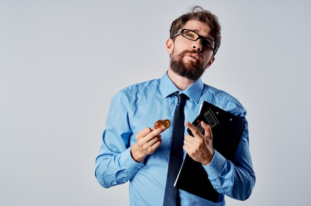 Cheerful man in shirt with tie finance ecommerce