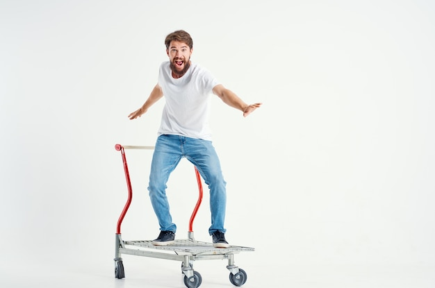 Cheerful man supermarket lifestyle fun isolated background