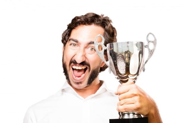 Веселый человек с трофеем