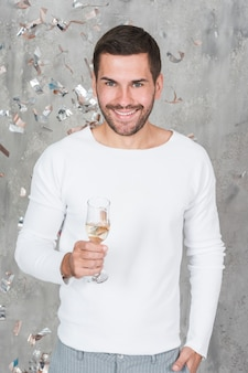 Cheerful man with champagne