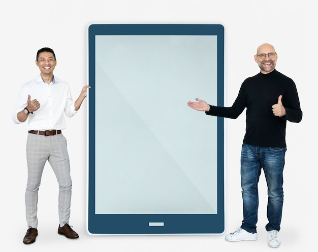 Cheerful men showing a tablet screen