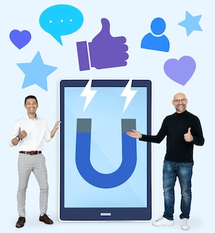 Cheerful men with attracting social media like thumbs up icons
