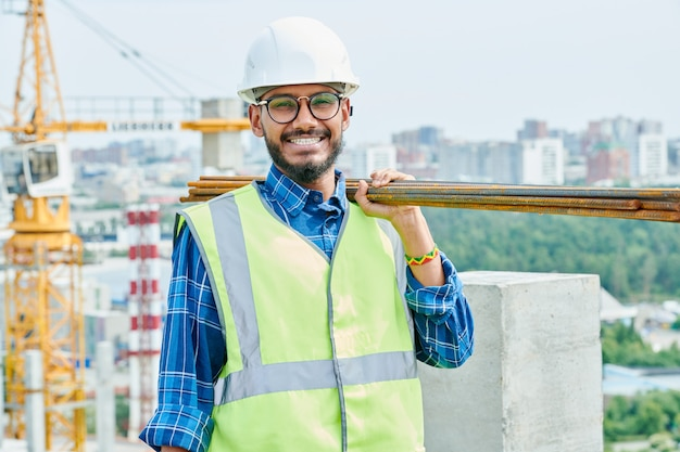 Cheerful middle-eastern worker