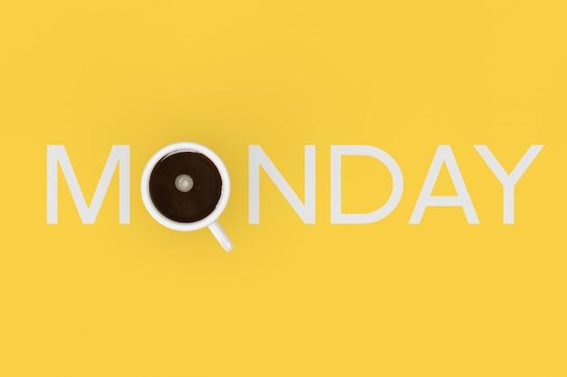 陽気な朝のコンセプト。黄色の背景に月曜日のサインとしてブラックコーヒーのカップ。 3dレンダリング