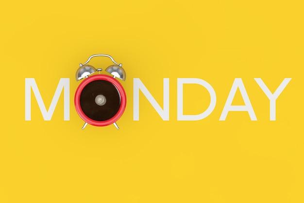 陽気な朝のコンセプト。黄色の背景に月曜日のサインとして黒いコーヒーのカップの形をした赤い目覚まし時計。 3dレンダリング