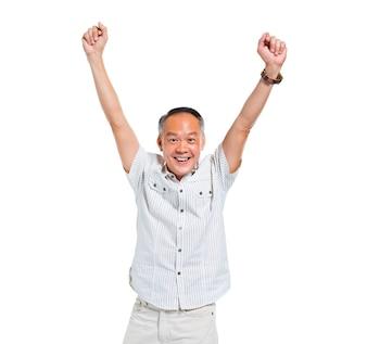 Cheerful Old Asian Man Celebrating