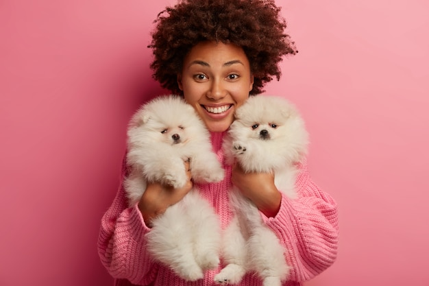 Cheerful pleasant looking curly woman holds two pedigree puppies, smiles broadly, poses indoor, works as volunteer