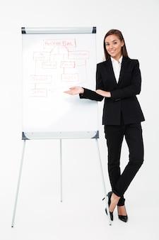 Donna di affari graziosa allegra vicino al business plan che lo mostra.