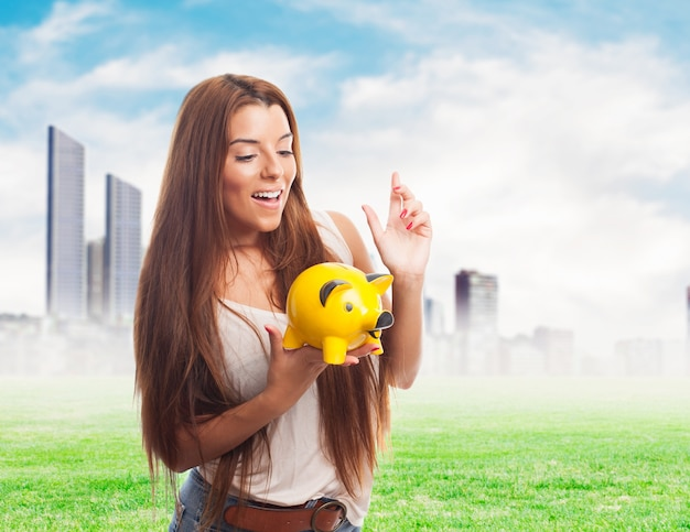 Cheerful retirement finance beautiful young