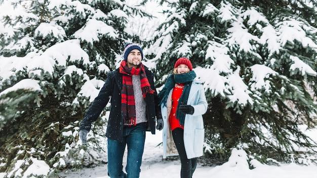 Веселая пара в зимних лесах