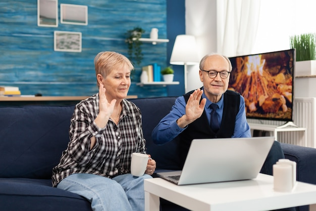Cheerful senior couple in living room waving at webcam during online call