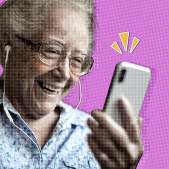 コロナウイルス検疫の背景の間にビデオ通話をする陽気な年配の女性