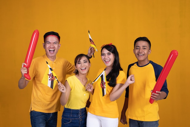 Cheerful supporting brunei nation