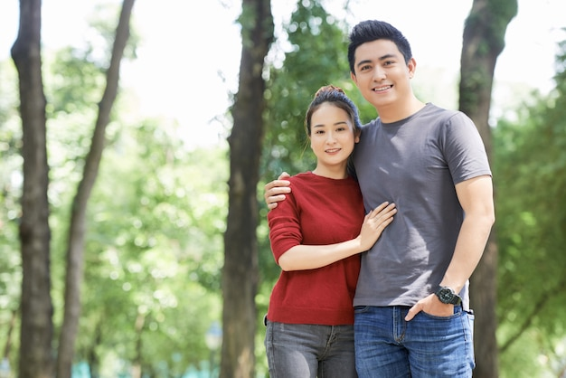Cheerful vietnamese couple