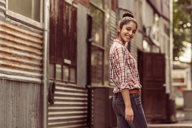 Cheerful with perfect smile of female teenager, positive emotions and feelings concept