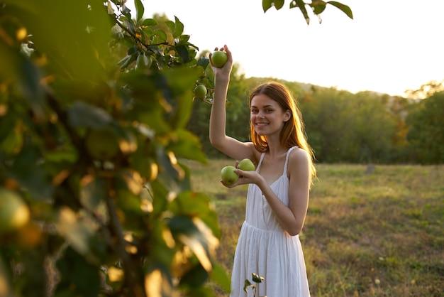 Веселая женщина в белом платье возле дерева собирает яблоки