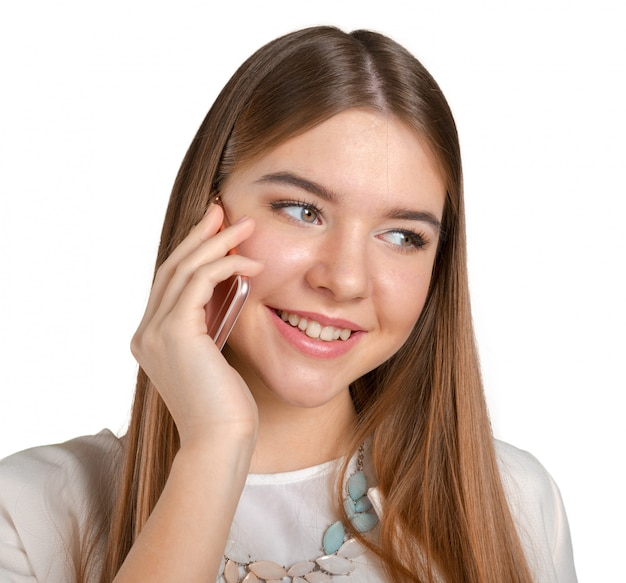 Cheerful woman talking on the phone